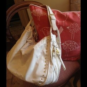 Handbags - ISO White Hobo Bag with Gold Studs